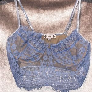 Baby Blue Lace Crop Top